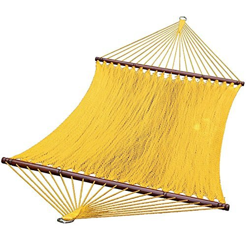 13 Sunny Golden Yellow Caribbean Tight Weave Polyester Rope Hammock