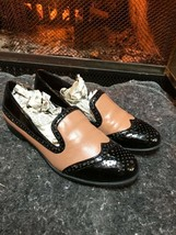 Franco Sarto L Tweed Women Brown Beige leather Wingtip Loafer Shoe size 7 - $19.80