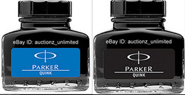 2 Parker Quink -1 Qty Blue + 1 Qty Black Ink Bottle (30 Ml each) 1 oz Ne... - $9.99
