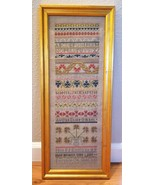 Lovely Finished Cross Stitch Embroidery Sampler Much Detail Ready To Hang - $75.00