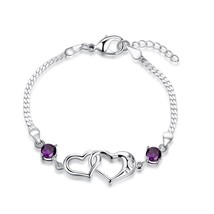 "Silver Plated Zircon Double Heart ""I Love You"" Letter Adjustable Bracelet - $58.36"