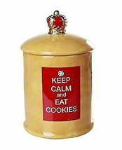 A Royal Treat Keep Calm And Eat Cookies Ceramic Cookie Jar With Air Tigh... - $26.99