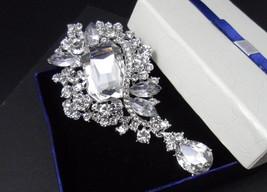 Dangle Rhinestone Brooch, Wedding Brooch, Silver Brooch Pin, Wedding Acc... - $8.95