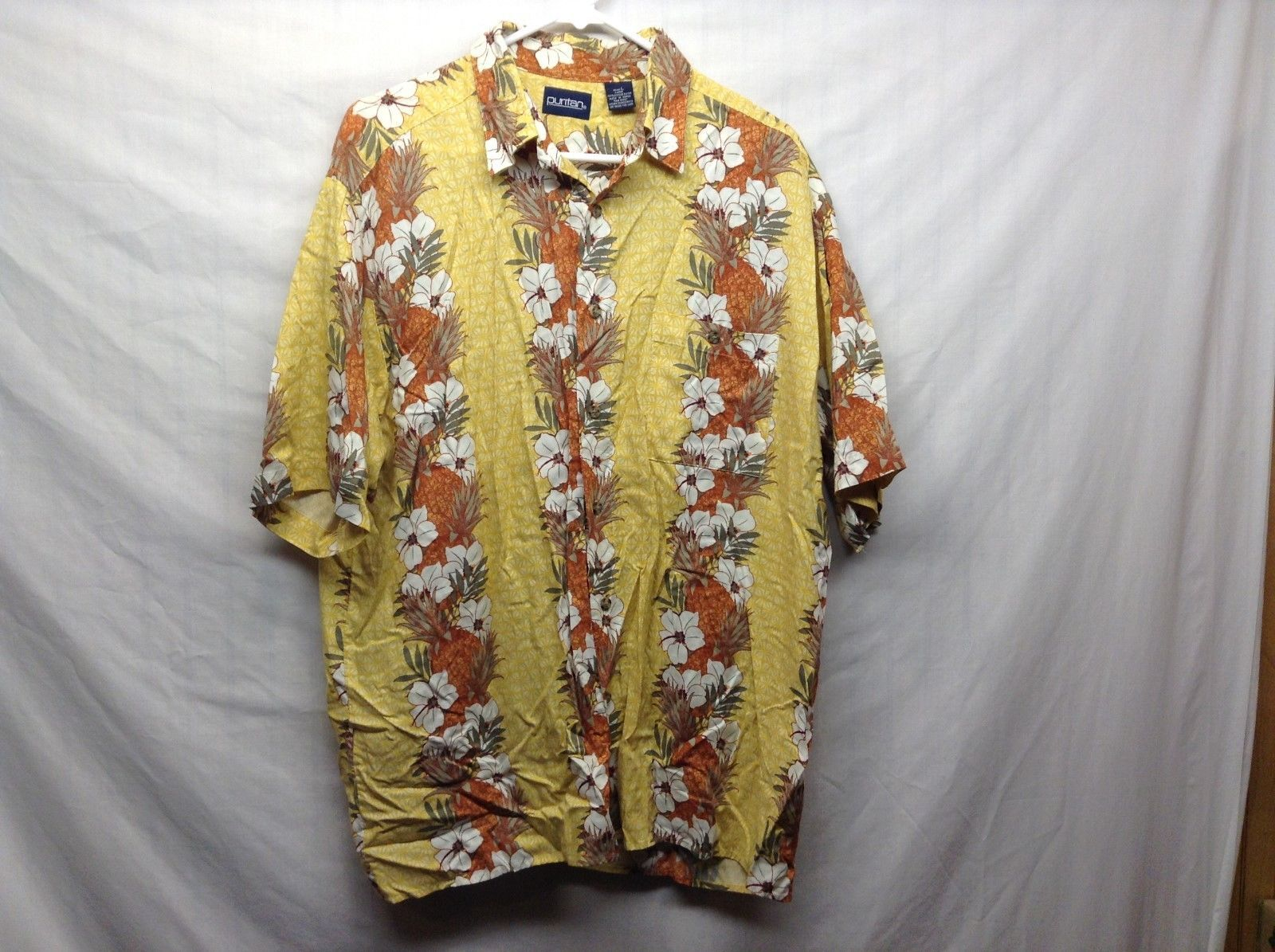 Puritan Men's Casual Summer Hawaiian Shirt Sz LG