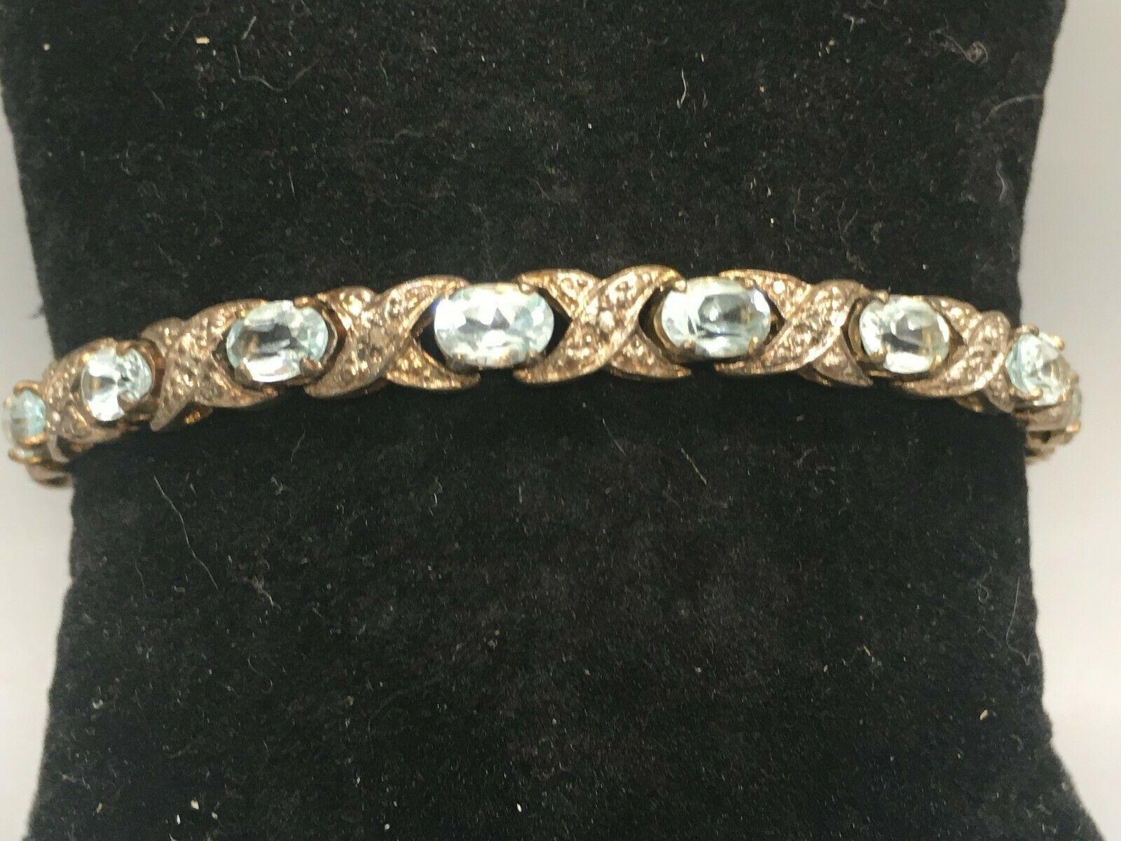 "Pretty Vintage 7"" Sterling Silver and Blue Topaz Bracelet Signed XOX image 8"