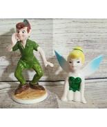 Peter Pan and Tinker Bell Ceramic Porcelain Figurines Walt Disney Japan - $38.79