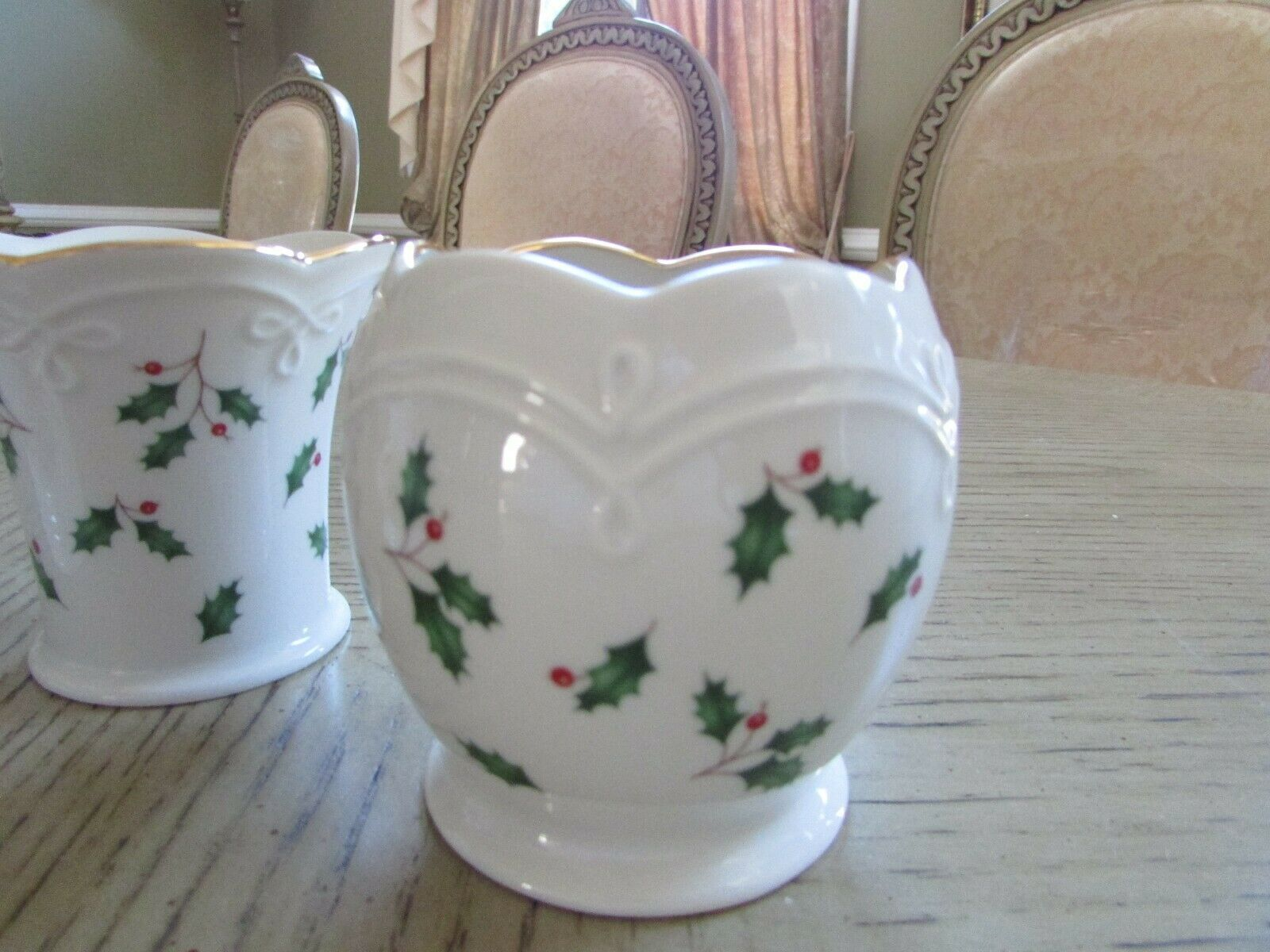 LENOX HOLIDAY DIMENSION COLLECTION SET OF 3 TEALIGHT CANDLE HOLDERS HOLLY BERRY