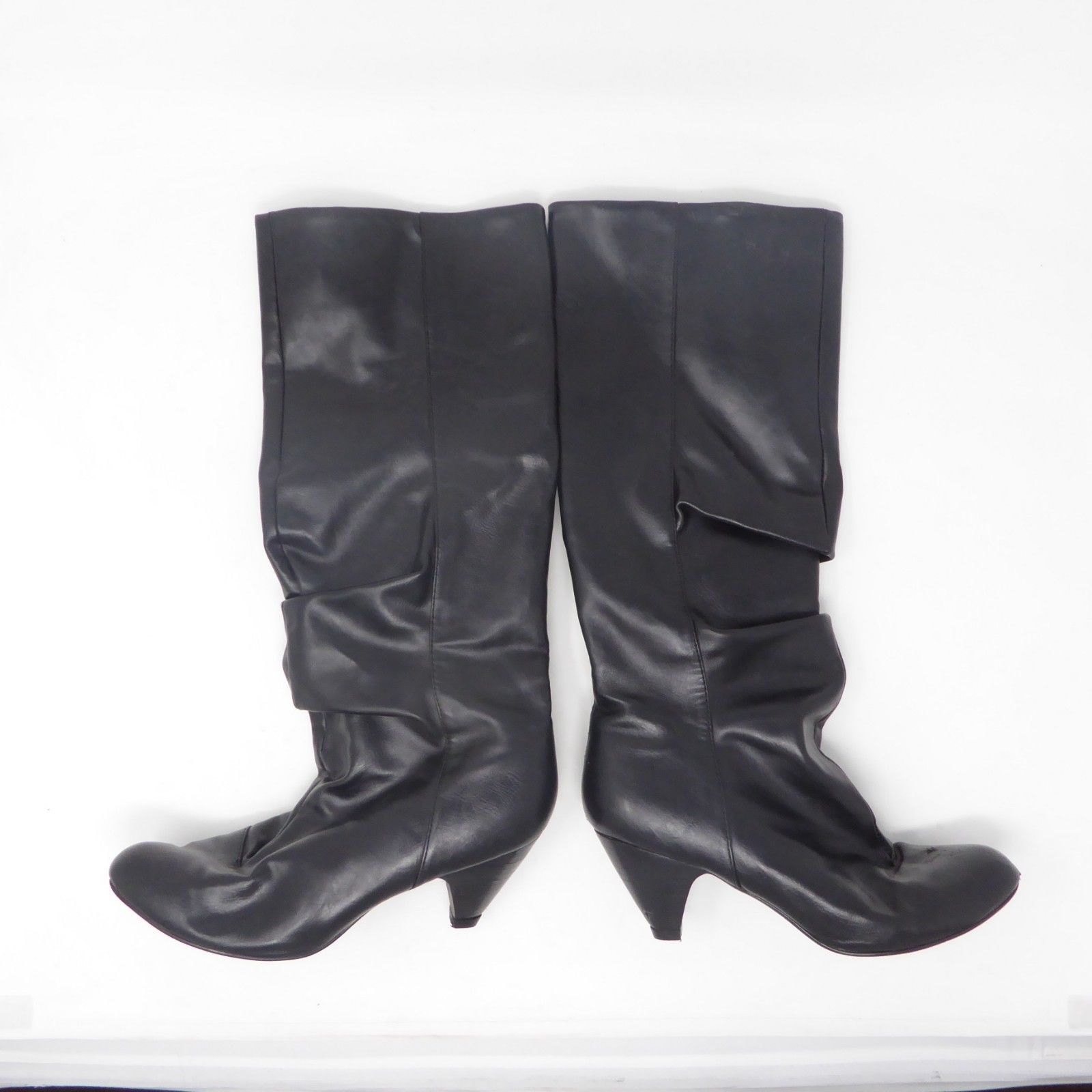 81759ac4ac119 Black Faux Leather Riding Knee High Womens 16