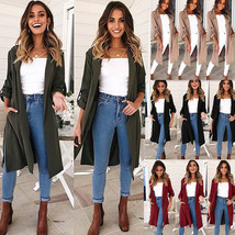 Women Trench Coat Turn down Collar Long Sleeve Split Belted Casual Long Jacket - $26.99