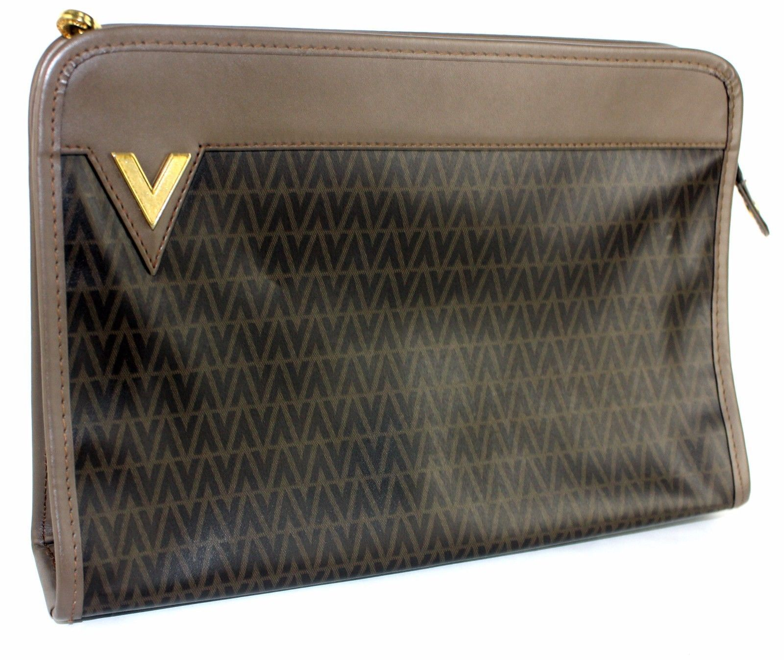 e4fe710057 S l1600. S l1600. Previous. Authentic Mario Valentino Brown PVC leather  Secondary /Clutch bag Made In Italy