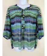 Lane Bryant Womens Plus 22/24 Colorful Striped Blouse Ribbon Neck 3/4 Sl... - $21.78
