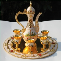 Golden and white Coffee set Wine Set Tea set Castle pattern gift - $187.95