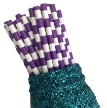 """7.75"""" purple stacked stripe print paper straws / 6-25 pieces / party sup... - $1.37 CAD+"""