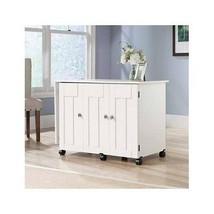White Sewing Craft Table Storage Shelves Cabinet Desk Drop Leaf Scrapboo... - $202.94