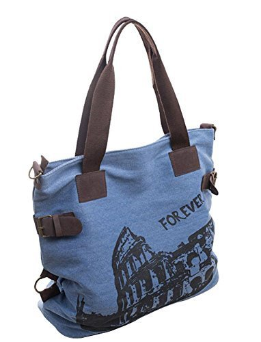 Fashion Canvas Retro Handbag Shoulder Bag Messenger Bag Large BLUE
