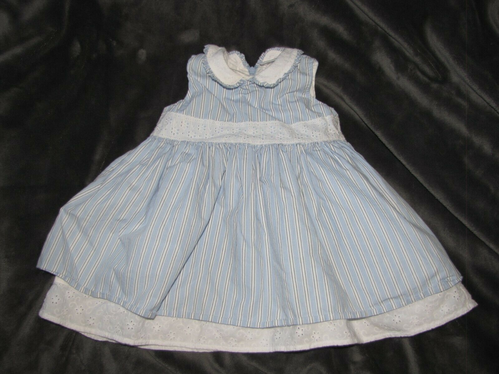 Primary image for Hanna Andersson Sleeveless Blue/White Stripe Eyelet Trim Summer Dress 80 12-24