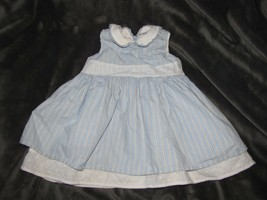 Hanna Andersson Sleeveless Blue/White Stripe Eyelet Trim Summer Dress 80... - $19.79