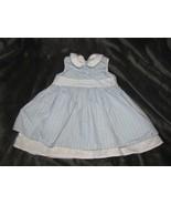 Hanna Andersson Sleeveless Blue/White Stripe Eyelet Trim Summer Dress 80... - $19.79