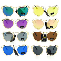 Giselle Wire Metal Rim Horn Rim Designer Fashion Sunglasses - $12.95