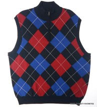 New CHAPS GOLF 78 Men's Mockneck 1/4 Zip Vest Sweater size LARGE Navy - $23.37