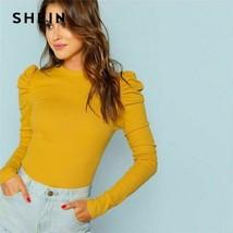 Frauen Baumwolltop T-Shirt Senf Elegante Bluse Puffärmel Pullover Slim Fit - $17.60