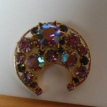 Vintage Signed Austria AB & Purple Stone Half Moon/C Brooch  - $31.19