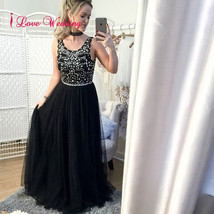 New A-Line Evening Dresses Formal Black Tulle Crystal Party Bridal Gowns... - $98.75