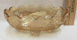Amber Depression Glass Bowl Flower Design Oval Footed Vintage 5x3 Yellow - $14.84