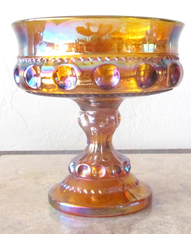 Vintage Indiana Glass Thumbprint Design Indigo Iridescent Table Compote Display