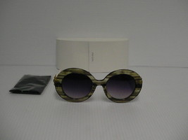 Womens PRADA New Sunglasses round green white arm spr 27QS with stones - $237.55