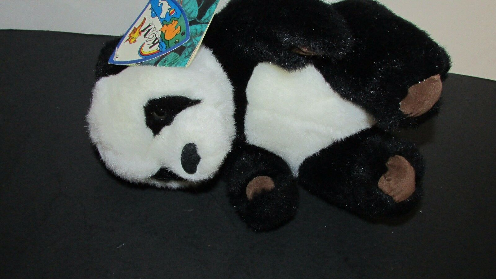 """Small Giant Panda plush brown suede feet foot pads K&M toys 1993 w/ tags 7.5"""" image 6"""