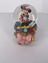 "Disney Minnie Mouse Miniature Mini Snow Globe 3.5"" Butterflies & Flowers Small - $29.65"