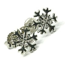 SOLID 18K WHITE GOLD EARRINGS FLAT SNOWFLAKE, SHINY, SMOOTH, 9 MM CUBIC ZIRCONIA image 4