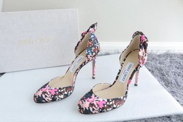 NEW AUTH JIMMY CHOO Pink Black Flower Pumps Heels Shoes 35.5 image 2