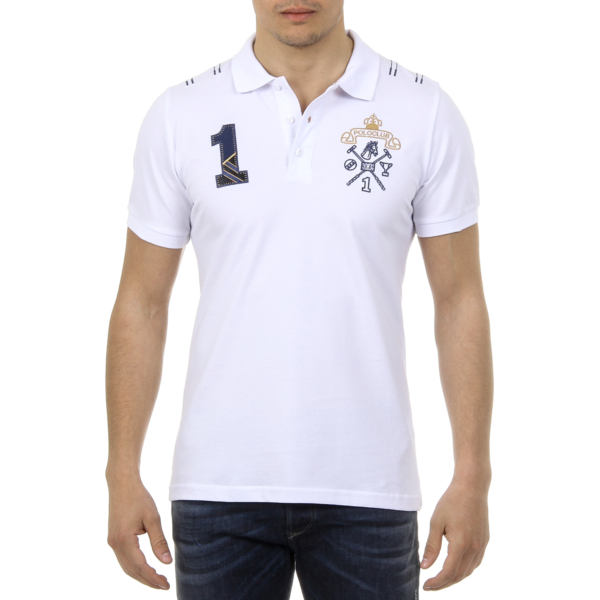Primary image for Ufford & Suffolk Polo Club Mens Polo Short Sleeves US008 WHITE