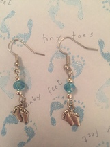 Tiny Feet with Aqua or Pink Crystal Earrings - $10.50