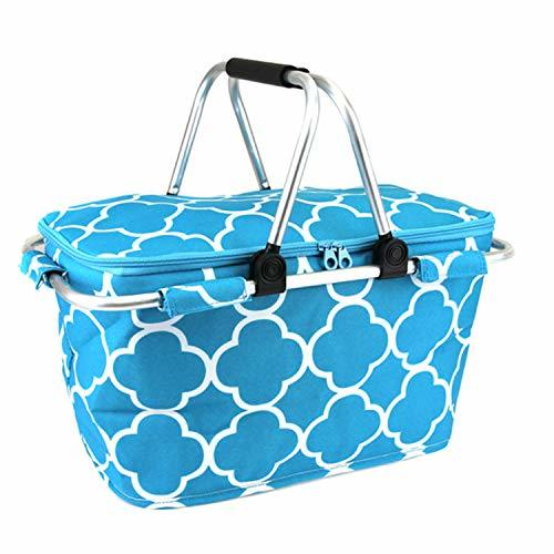 scarlettsbags Quatrefoil Print Metal Frame Insulated Market Tote Blue
