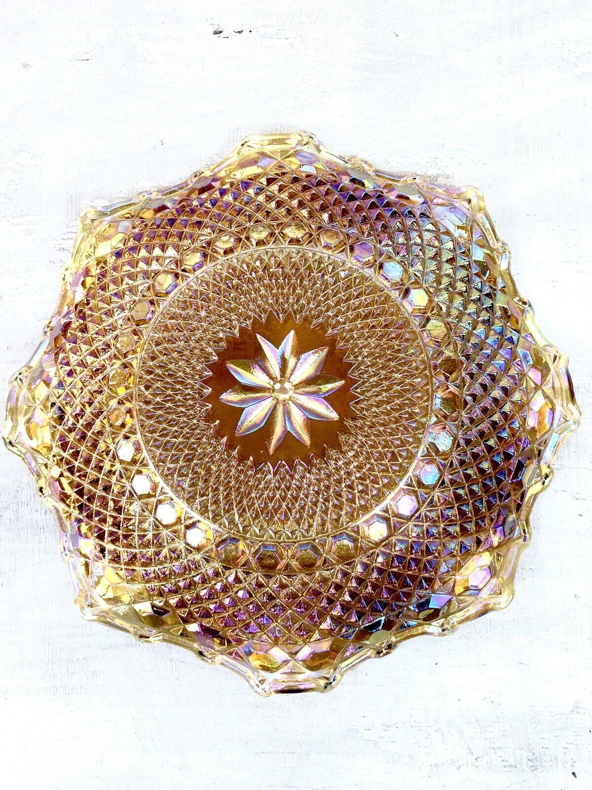 "Indiana Glass Gold Carnival Glass Starburst & Diamond 10"" Ruffle Hostess Plate"