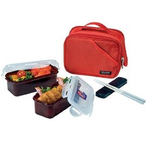Lock&Lock Lunch Box Set with Red Double Zip Bag - $23.33