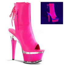 New ILLUSION 1018UV Neon Hot Pink PU Open-Toe/Open Heel Ankle Boot 6.5 i... - $67.00