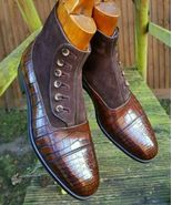 NEW HANDMADE MEN'S CROCODILE TEXTURE BROWN LEATHER SUEDE BUTTON BOOTS - $169.99+