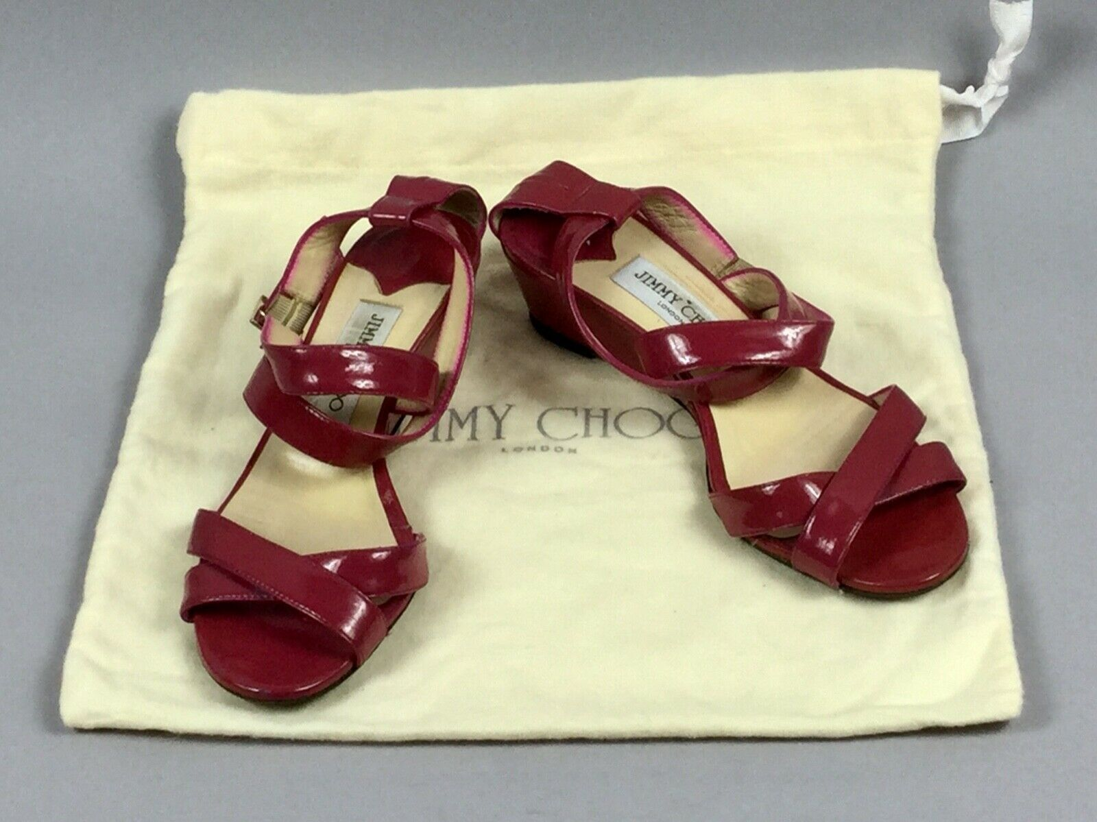 JIMMY CHOO Pink Patient Leather Strappy Gold Buckle Logo Women's Sandals Size 38