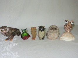 Mixed Lot 6 Vtg Owl Figurines Carved Wood Onyx Glass Ceramic Resin Seashell - $49.49