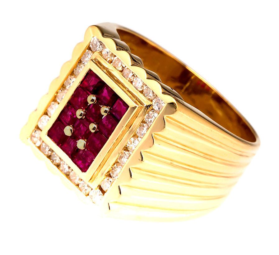 14 K Yellow Gold Men's Ring With Faceted Ruby And Real Diamond Size US 8 to 12