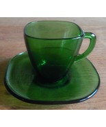 Dark Green Depression Glass Childs Cup & Saucer Set Depression Glass - $9.90