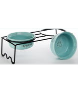 """Paw Aqua Feed Me Thirsty 2 Pet Bowls 7.5"""" w/ Metal Stand by Signature Ho... - $49.45"""