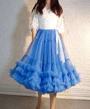Copen Blue Layered Midi Tulle Skirt Plus Size A-line Layered Puffy Midi Skirt  image 1