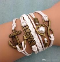 DIY Infinity Charm Antique Cross fashion Leather Bracelets Multilayer Heart Tree image 3