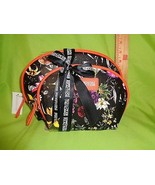 Kenneth Cole BLACK W/ FLOWERS 2 PC REACTION NEW Travel HANDBAG Makeup Ba... - $20.29