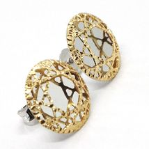 YELLOW GOLD EARRINGS WHITE 750 18K, BUTTON, DISCO, FINELY WORKED image 4